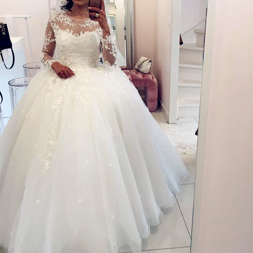 a13c7b76ac6 sheer long sleeves white organza ball gown wedding dresses lace appliques  2018