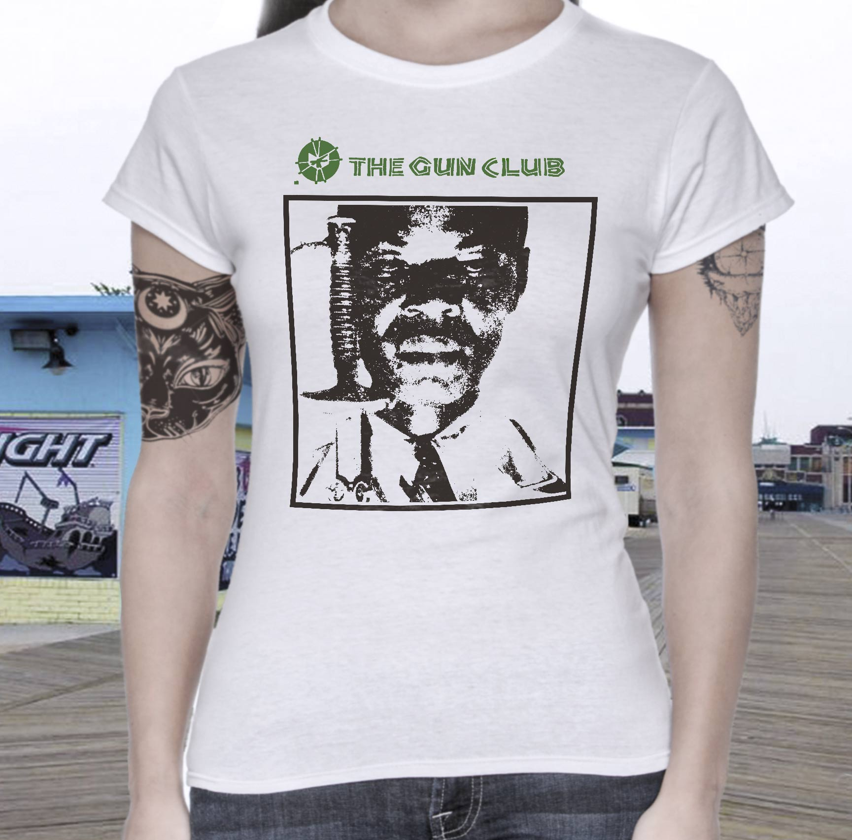 The gun club band t shirt screen print white vintage for Vintage screen print t shirts