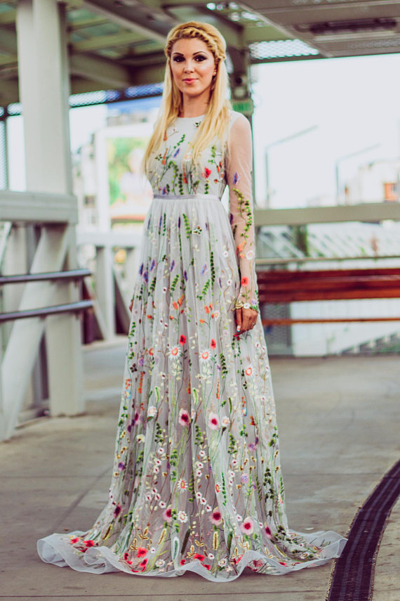 Flower wedding dress, Color wedding dress with sleeves, Bridal dress ...