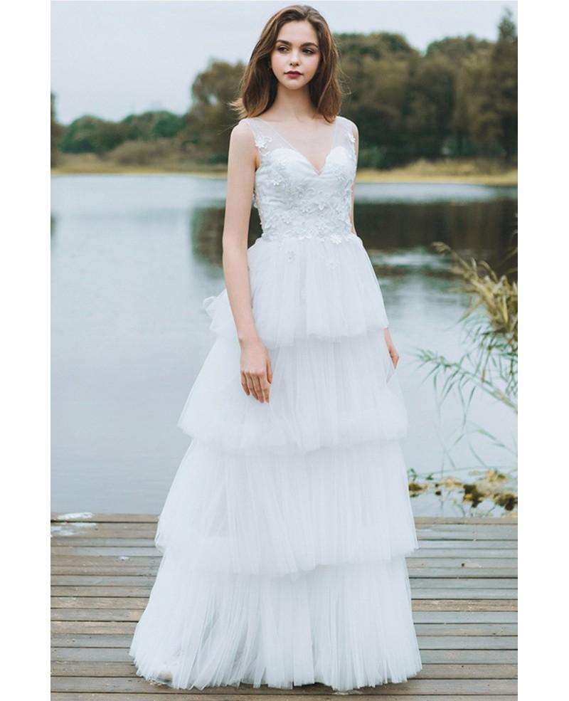 Elegant A-Line V-Neck Sleeveless White Tulle Long Wedding Dress with ...