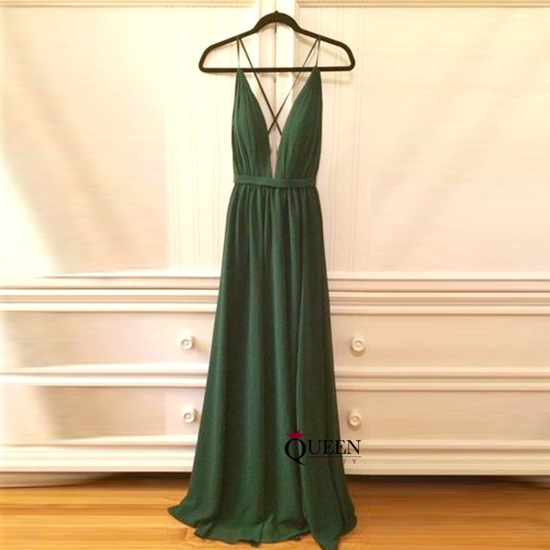 Simple Dark Green Spaghetti Strap Deep V-Neck Long Prom Dress With ...