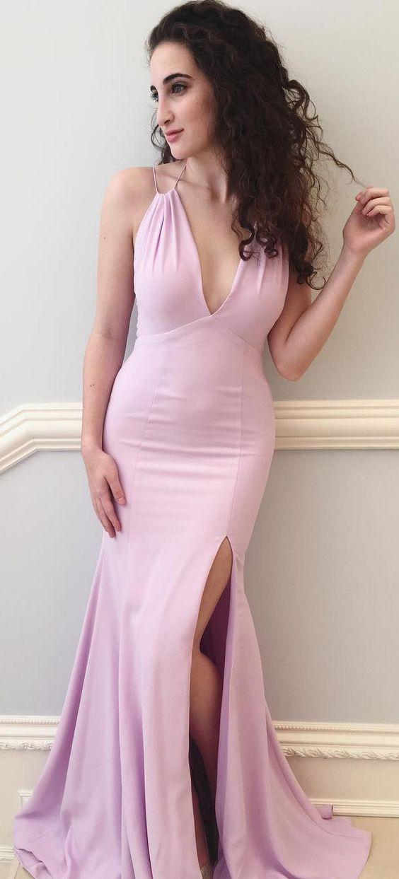U0155 Pink Prom Dress,Long Prom Dress,Mermaid Prom Dress,Slit Prom ...
