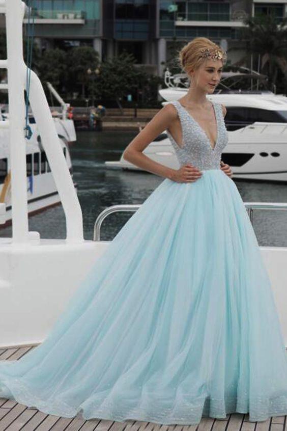 Light blue tulle long V neck beaded gown, senior halter prom dress ...