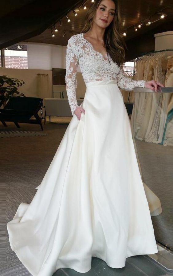 Charming Long Sleeves Prom Dress,White Prom Dress,Lace Prom Dress,A-Line  V-Neck Prom Dress,Floor Length Prom Wedding Dress With Lace from prom dress