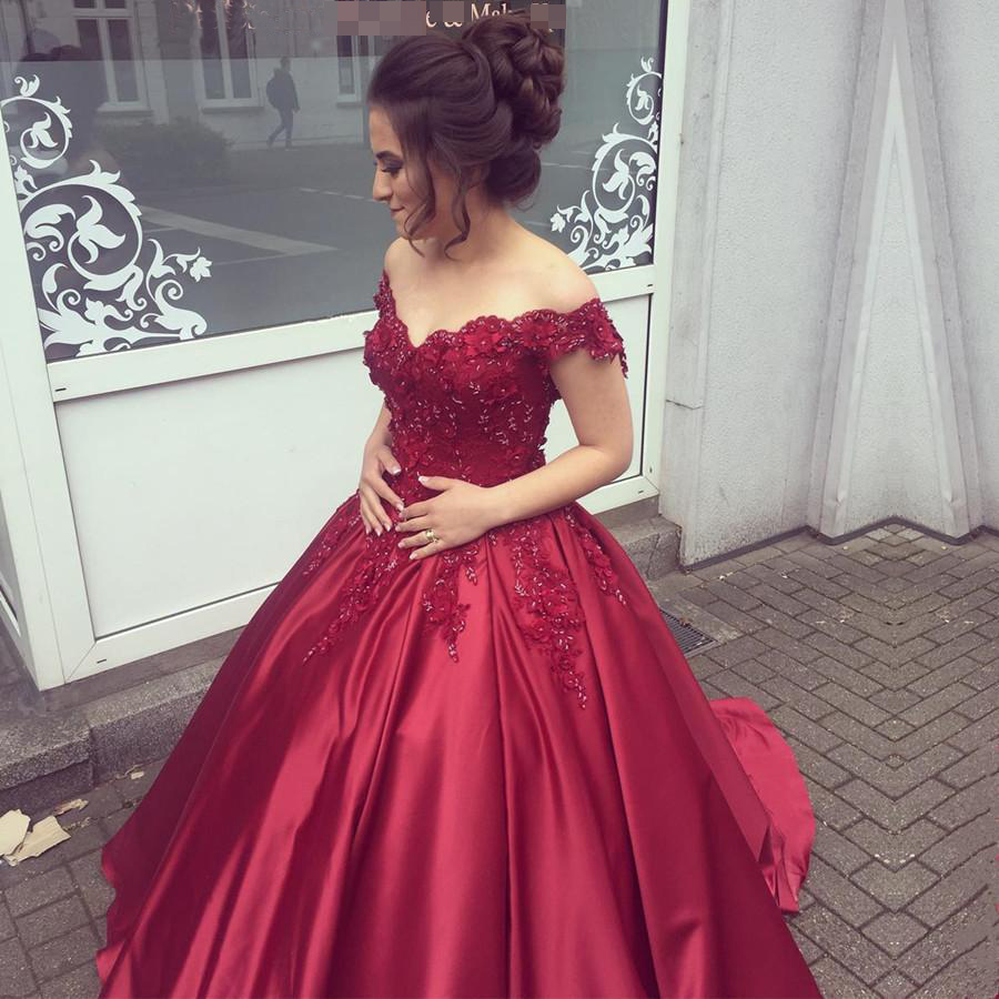 Burgundy Off The Shoulder Quinceanera Dresses,Ball Gown