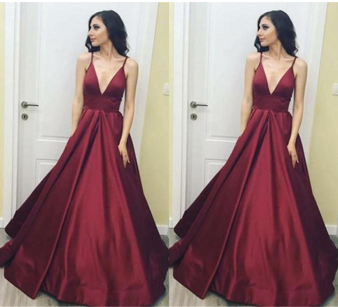 Simple Elegant Long V-neck Burgundy Open Back Prom Dresses ...