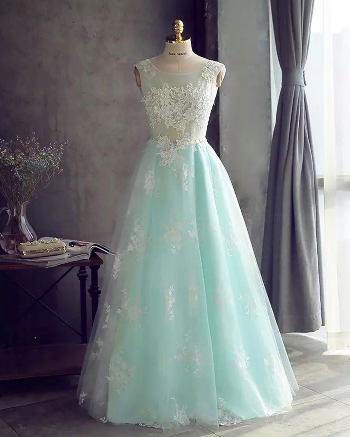 Mint tulle long lace appliques prom dress for teens, long sweet 16 ...