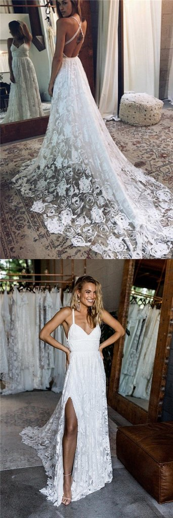 Charming Wedding Dresseslace Wedding Dressspaghetti Straps Wedding