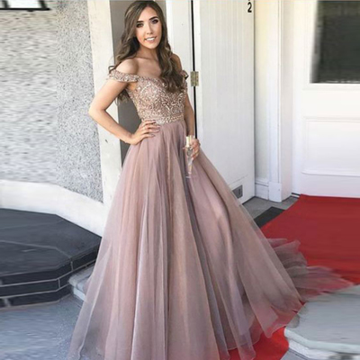 7aa9aee32d1 Dark champagne off the shoulder prom dress tulle a line formal gown with  beading