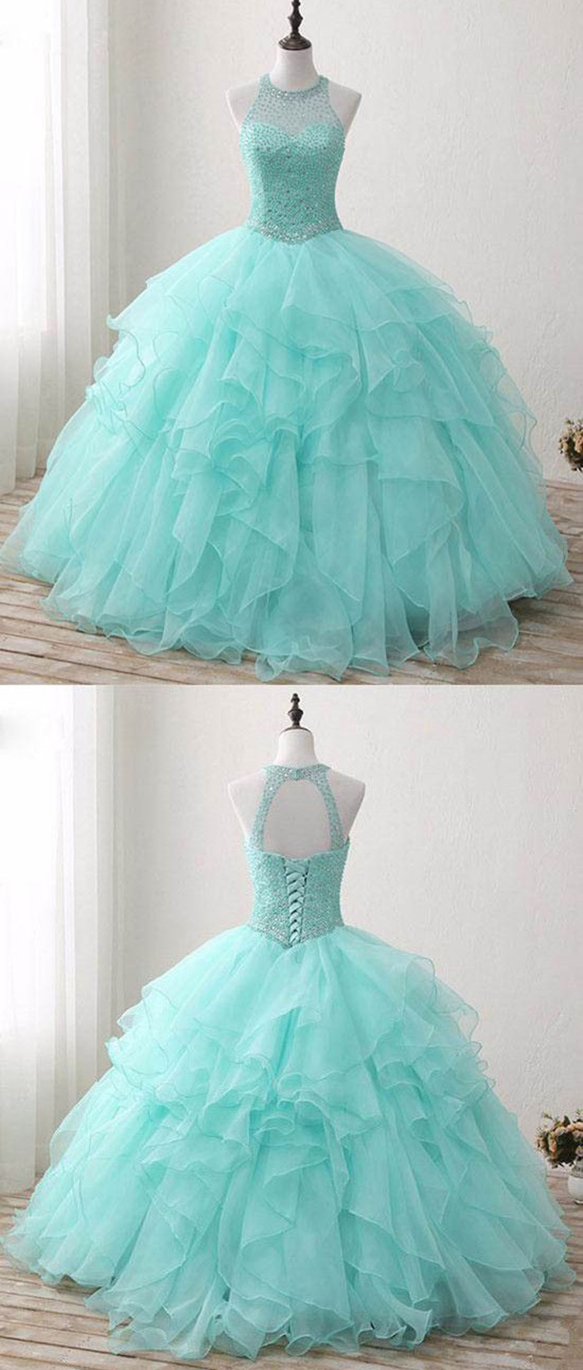 Cheap Prom Dresses by SweetheartDress · Mint tulle silver beads ...