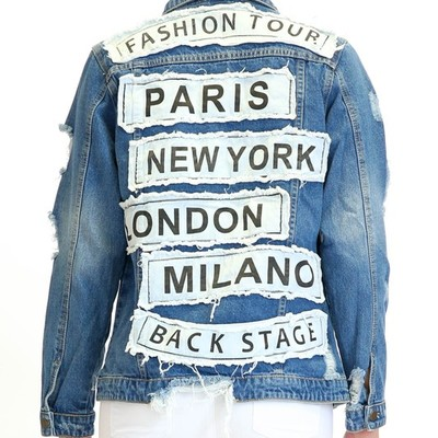 """world tour"" distressed denim jacket"