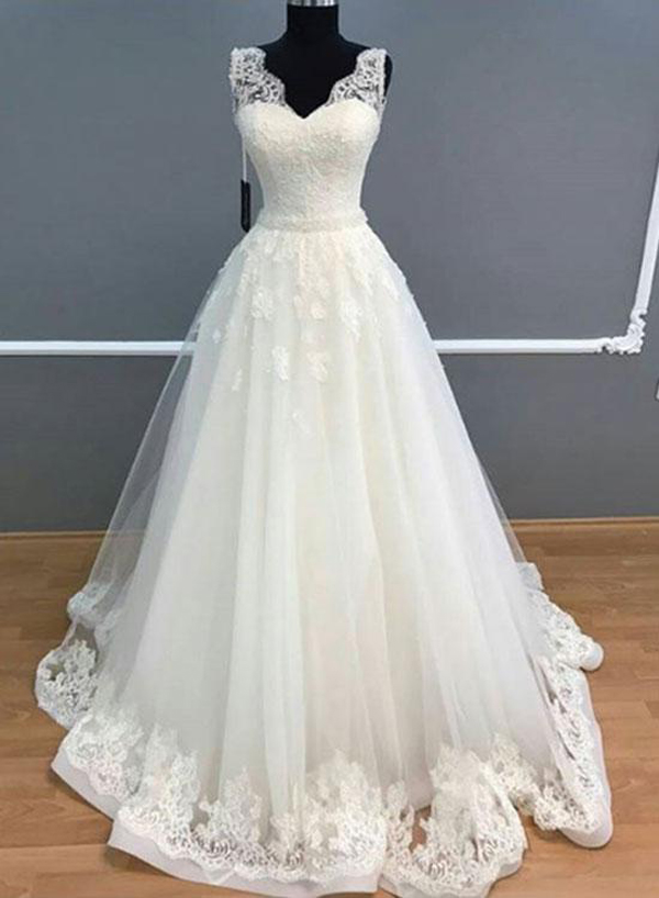 Charming tulle appliques lace bridal dress elegant white wedding charming tulle appliques lace bridal dress elegant white wedding dress fp437 junglespirit Image collections