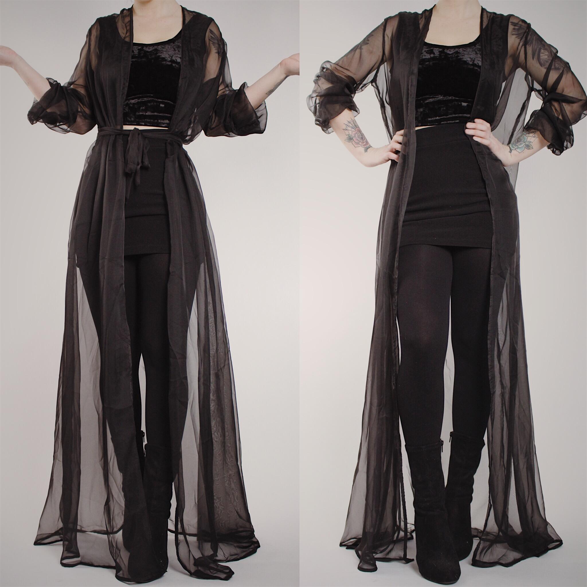 RESERVED FOR KYLIE - Vintage Sheer Black Floor Length Dressing Gown ...