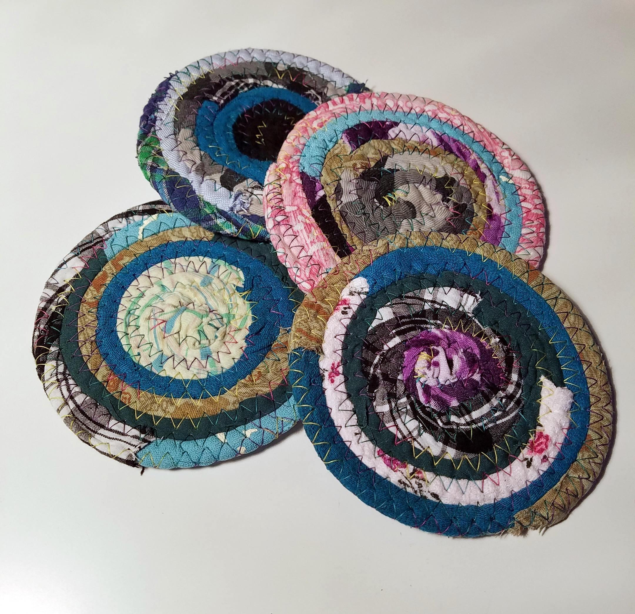 Fabric coasters multicolors set of 4 handmade hippie for Handmade drink coasters