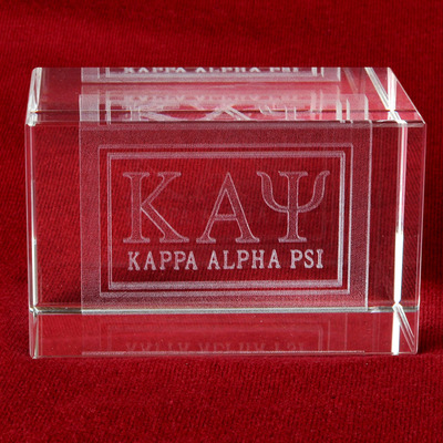 Kappa alpha psi letter crystal paperweight