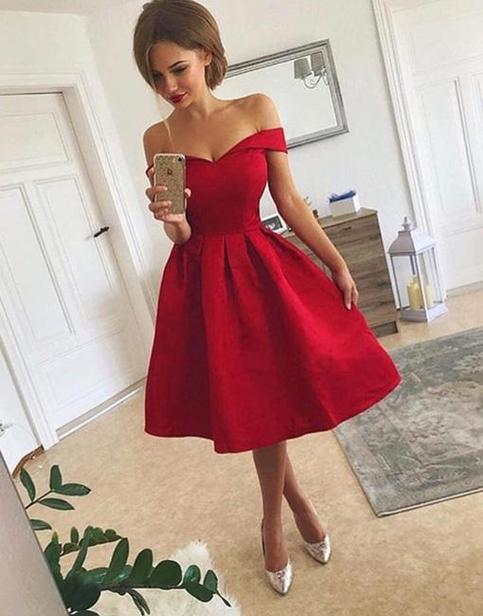 A Line Off Shoulder Short Red Prom Dress Short Red