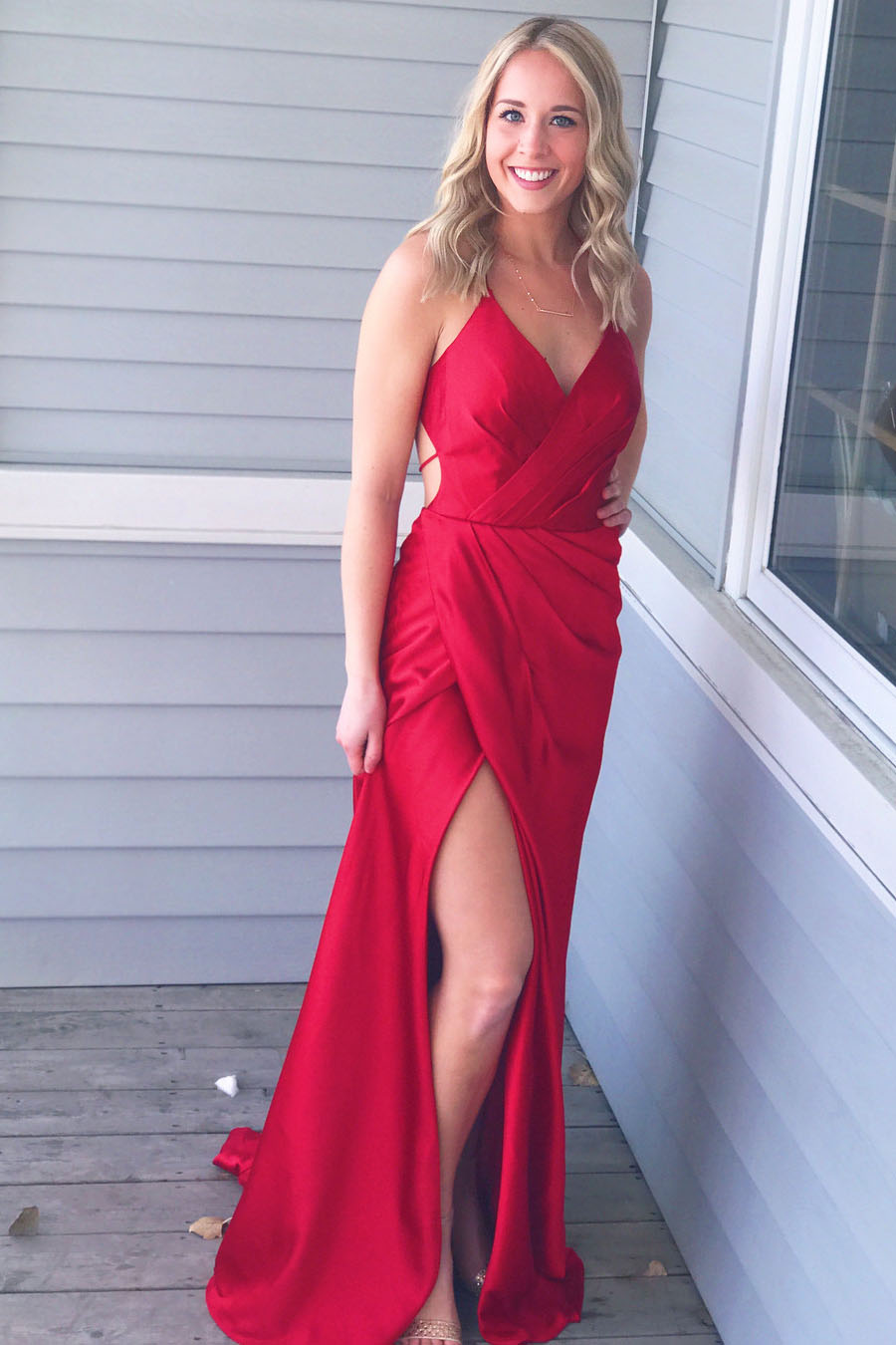 Simple Red V-Neck Spaghetti Straps Sheath Prom Dress,Red Evening ...