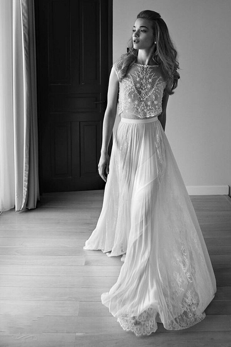 Lace Vintage Wedding Dresses Beach Boho With Short Capped Sleeves ...