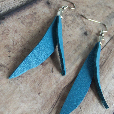 Teal double drop leather earrings
