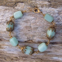 Antique Brass and Amazonite Bead Bracelet