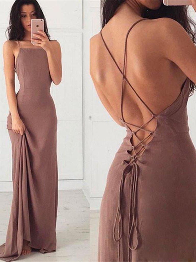 Simple A Line Backless Prom Dress, Open Back Formal Dress ...