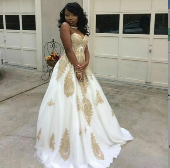 White A Line Prom Dresses African Black Girl Appliques Evening