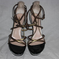 YSL heels strappy sandals 3 color block black patent gold size 6