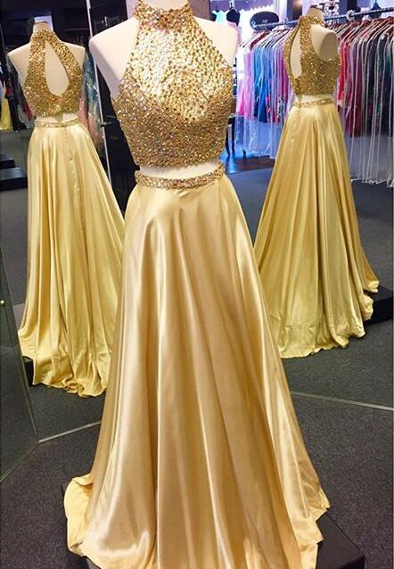 74e0f5a9ddc5 Two Piece Prom Dress, 2017 Sparkly Beads Long Prom Dress, Gold Long Prom  Dress ...