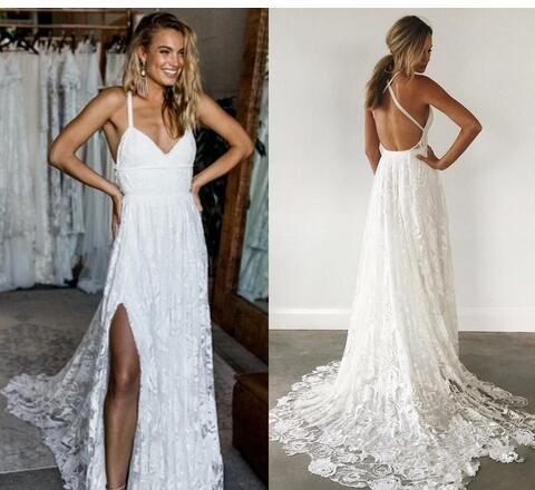 Backless Wedding Dress, Criss-Cross Wedding Dress, White Wedding ...