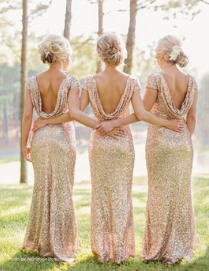 Sequin bridesmaid dress, short sleeve bridesmaid