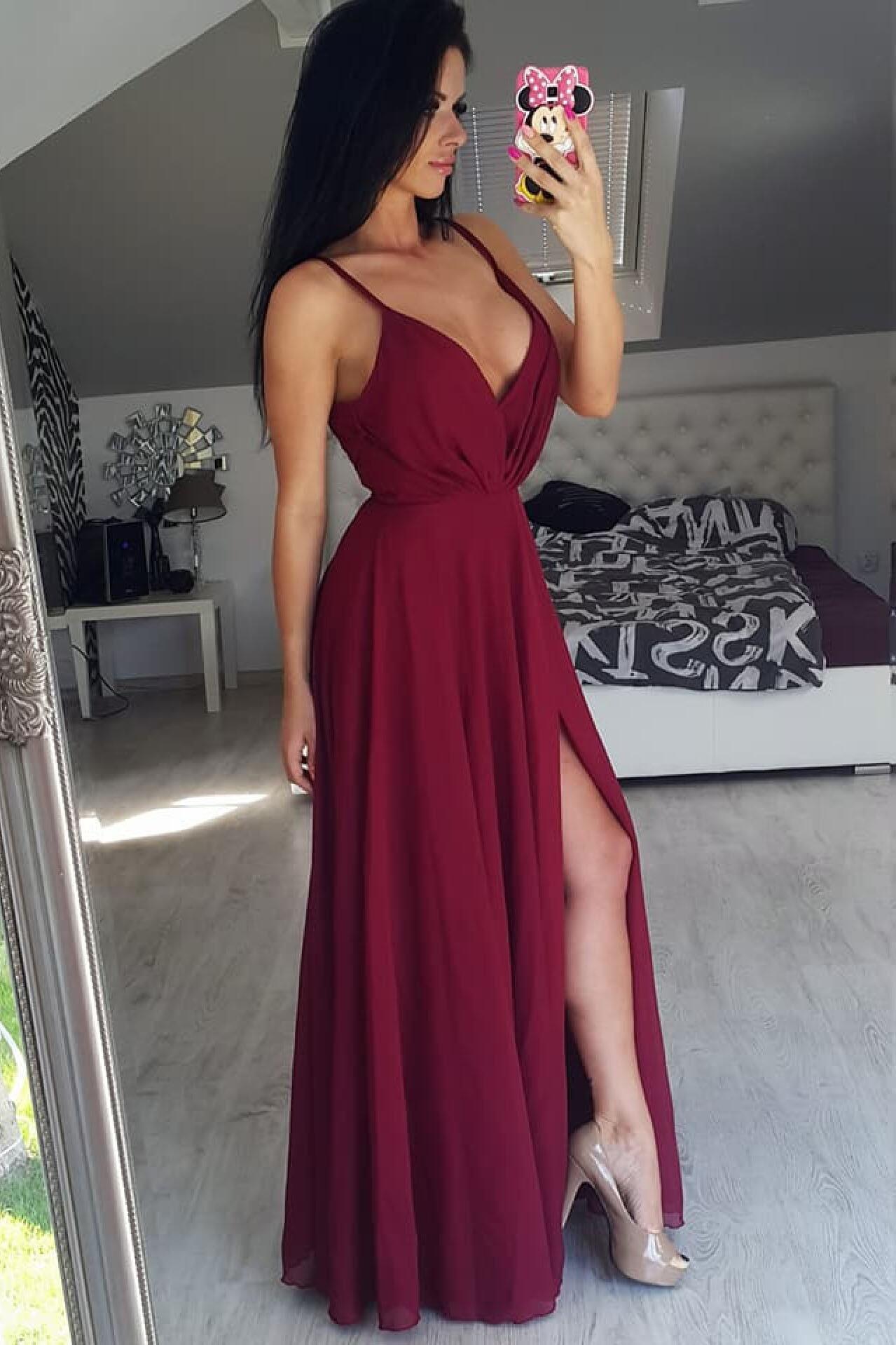 Spaghetti Straps Burgundy V Neck Prom Dress Sexy Slit