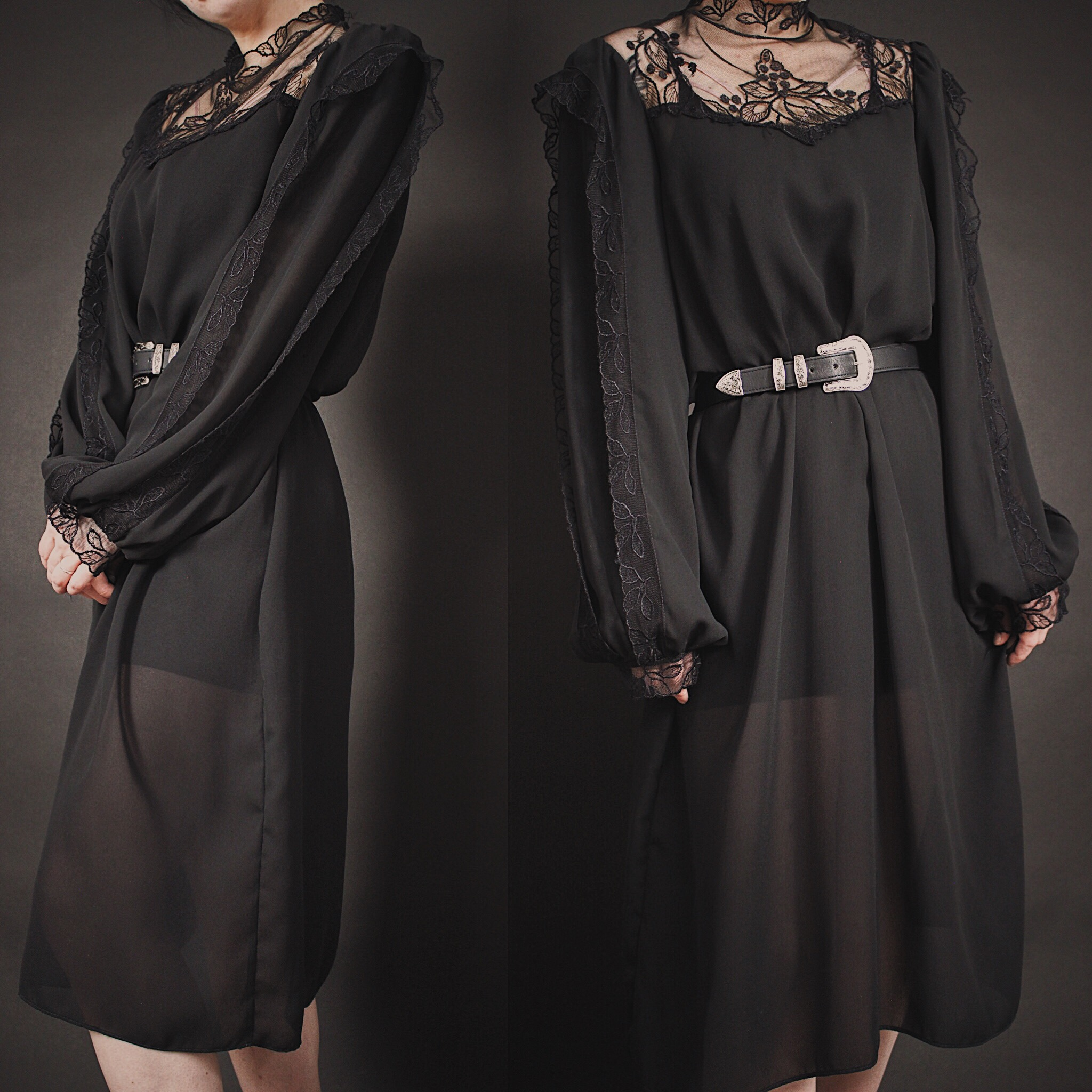 RESERVED FOR MAXX - Vintage 80s Black Lace Victorian Inspired Dress ... 56ce4b976