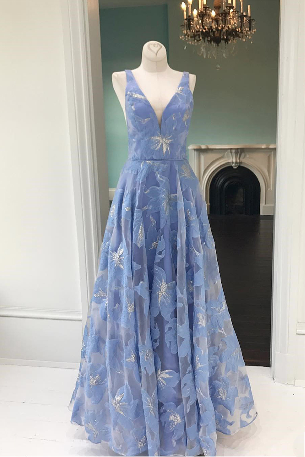 Cheap Prom Dresses by SweetheartDress · Simple blue floral lace V ...