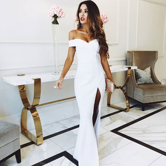 Gorgeous Off Shoulder White Side Split Prom Dress Mermaid Evening ...