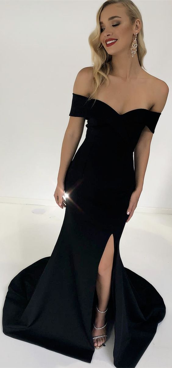 shoulder black mermaid long prom dress with side slit, 2018 prom ...