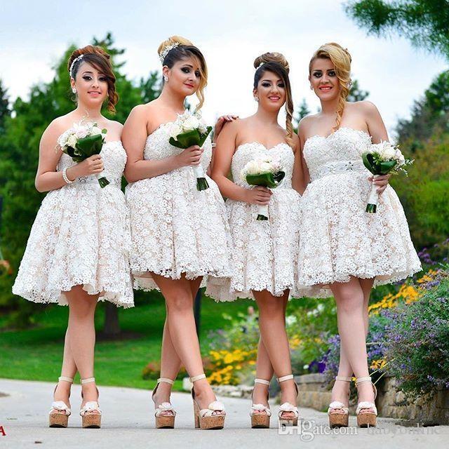 Miniskirt Lace Sweetheart Bridesmaid Dresses DPB10017 ...