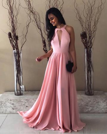 2018 Prom Dress Pretty Pink Halter Chiffon Prom Long Dresses Open