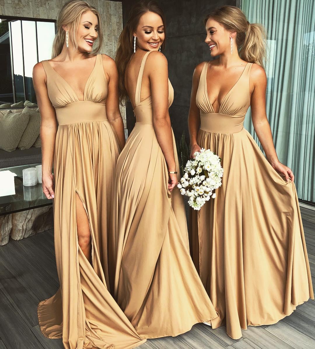 Elegant A-line V Neck Gold Long Bridesmaid