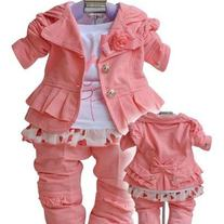 IN STOCK Toddler Girls 3 pc Suit - Bunny Design Outfit Jacket Coat, top and pants
