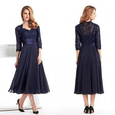 9bb18d9891f Custom made tea length mother of the bride groom dress with jacket long  sleeves navy blue