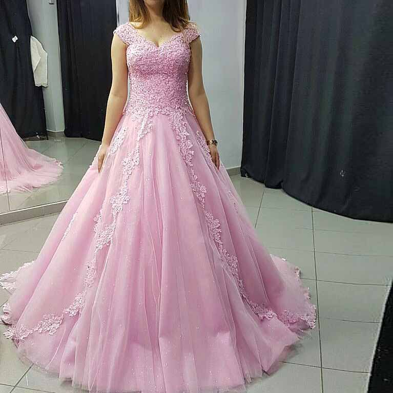 Princess Ball Gown Prom Dress Pink Tulle Cap Sleeve Wedding Party ...