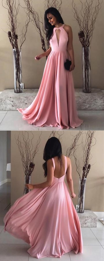 Pretty Pink Halter Chiffon Prom Dresses,Open Back Evening Gowns ...