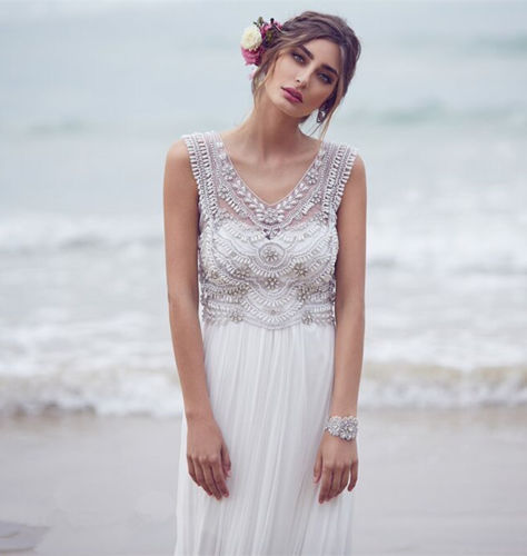 Backless Wedding Dress Lace Beach Wedding Dress with Sheer Bodice ...
