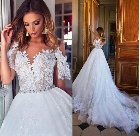 Lace Wedding Dresses Cap Sleeves Ivory Lace Plus Size Bridal Gowns