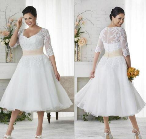 Plus Size Wedding Dresses With Half Sleeves A Line V Neck Ball Gowns