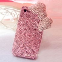 Bling Bling Big Pink Bow With All Pink Crystals iPhone 4/4S Case (#691)