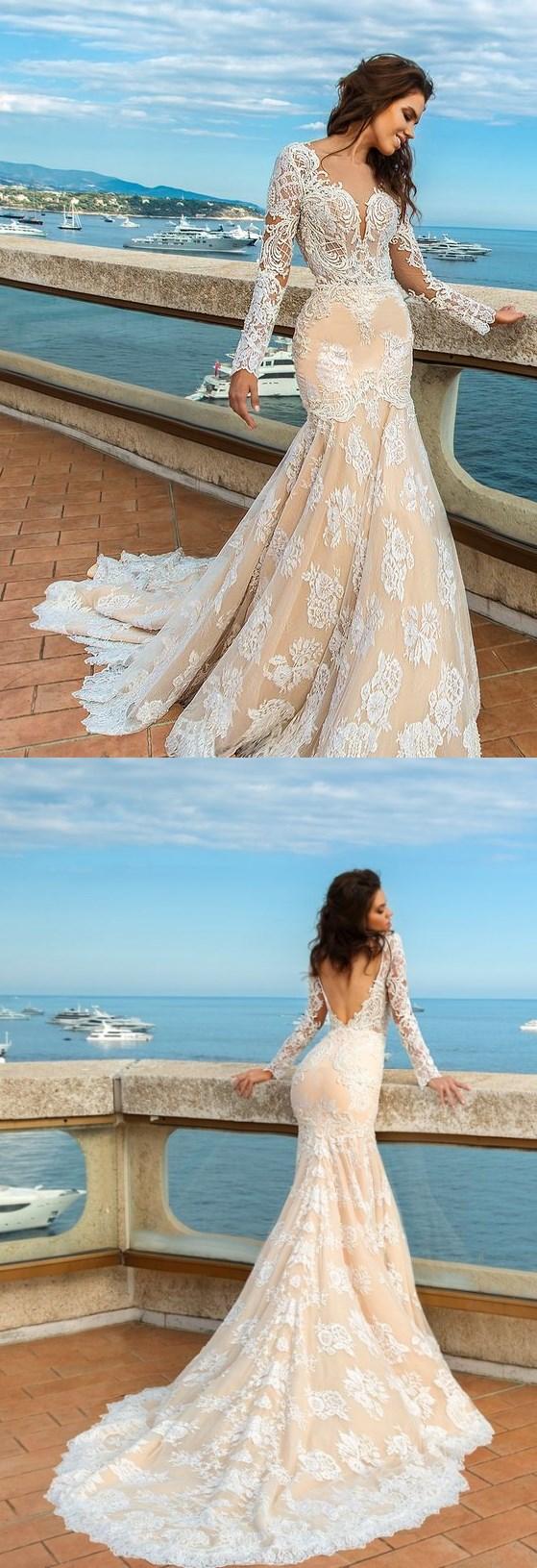 Champagne Wedding Dress,Long Sleeve Appliques Wedding Dresses,Open ...