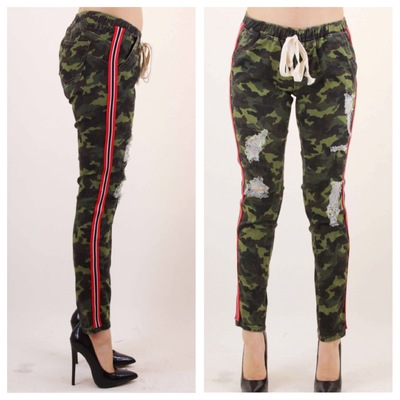 Cropped distressed joggers w/ red stripe