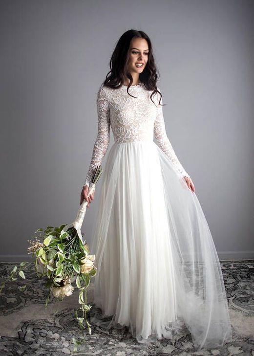Stunning Long Sleeve Wedding Dresses, Lace Bodice Chiffon Wedding ...