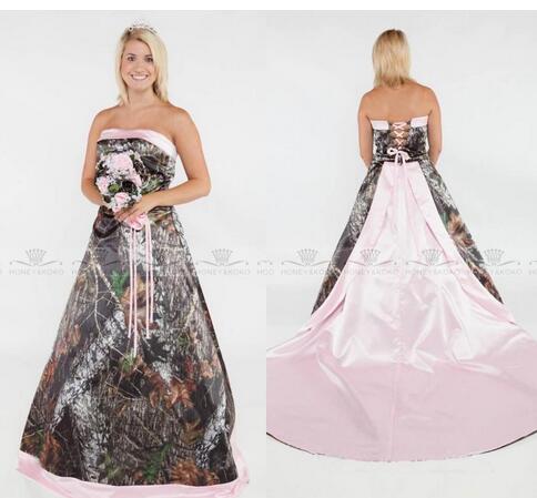 Glamorous 2018 Camo A Line Wedding Dresses Plus Size Formal Pink